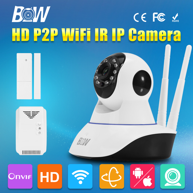 BW HD 720P CCTV IP Camera Wireless WiFi CMOS Video Surveillance Security Camera Mega Pixel 3.6mm Endoscope Linkage Sensor Alarm bw wireless wifi door
