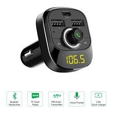 Передатчик громкой связи Bluetooth автомобильный комплект Aux модулятор MP3 плеер Музыка Воспроизведение тип-c зарядный порт Поддержка TF карты/U диск