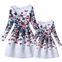 New 2018 family matching outfits mother and daughter clothes children's long sleeve dresses european style family clothing girls