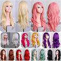 Long 70cm 28 Inch Wavy Pink Purple Brown Light Golden Yellow Wig Cosplay Synthetic Hair Wigs None Lace for Women Beauty Girl
