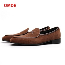 OMDE Italy Style Handmade Suede Shoes Mens Loafers 100% Genuine Leather Men Slip On Dress Big Size 47 Man