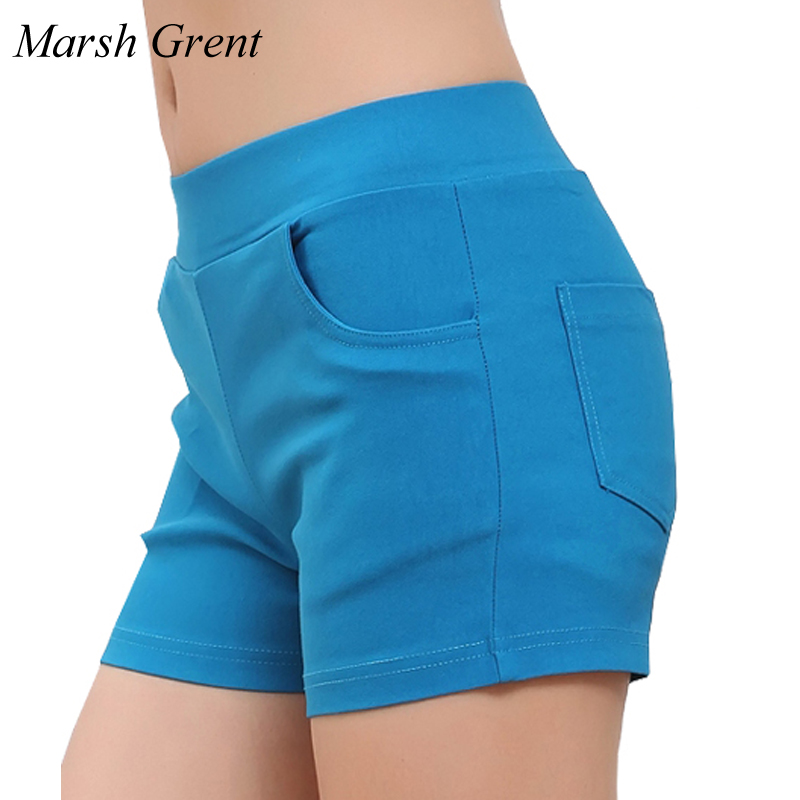 2018 Summer Woman Elastic High Waist Candy Color   Shorts   Female thin Casual Pocket Design Fashionable   Shorts