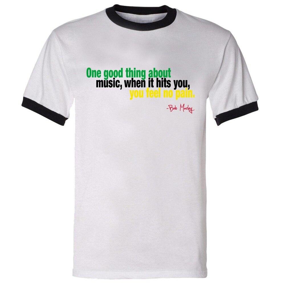 3b4c2da57 Fashion Popular Style Man T-Shirt Ringer 'When Music Hits' Bob Marley  Reggae Dancehall Roots Music Jamaican Tshirtcute T Shirts