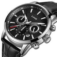LIGE hommes montre 2019 haut marque de luxe relogio masculino sport chronographe hommes montre-bracelet militaire pour Meski mâle horloge Quartz