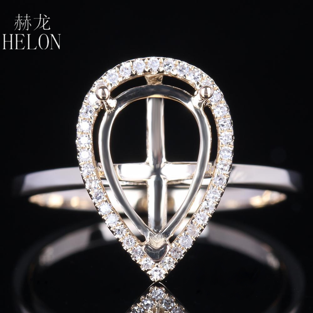 HELON 10x7mm Pear Cut Solid 10K Yellow Gold Semi Mount Pave Natural Diamonds Engagement Wedding Women Trendy Jewelry Party Ring helon pear cut 11x8mm solid 10k white gold pave natural diamonds semi mount wedding engagement elegant women s jewelry fine ring