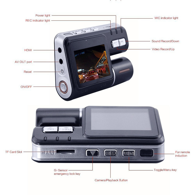 Dual Lens Auto Camcorder Car DVR Camera HD 1080P Dash Cam Driving Recorder 120 Degrees Wide-angle 330 Degree Rotation