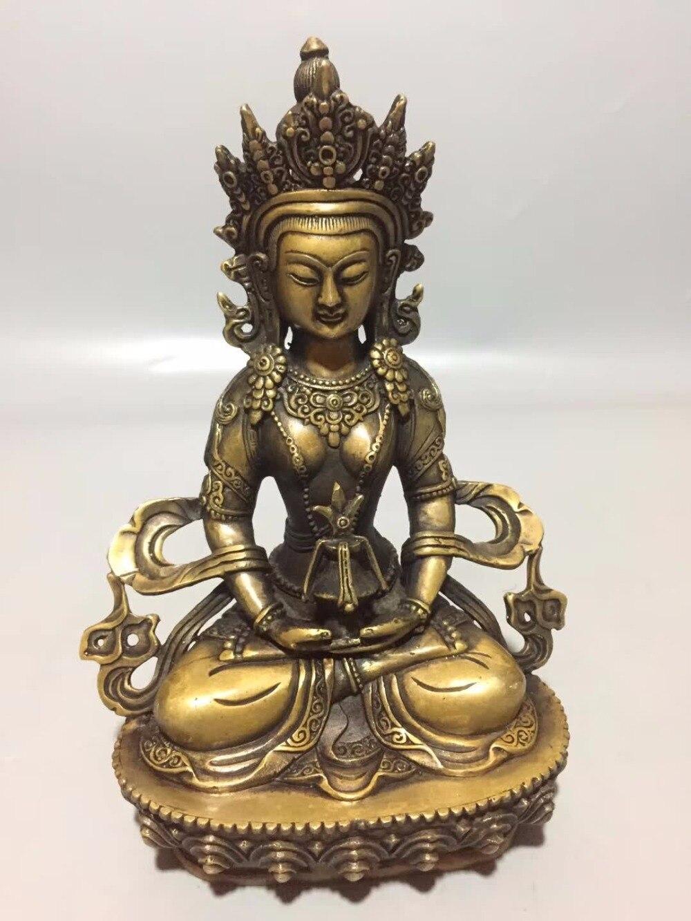 Statue de Tara faite main en Bronze tibétain de Collection d'art, décoration bouddhiste de temple de maison/bureau sculpture tibétaine de Tara