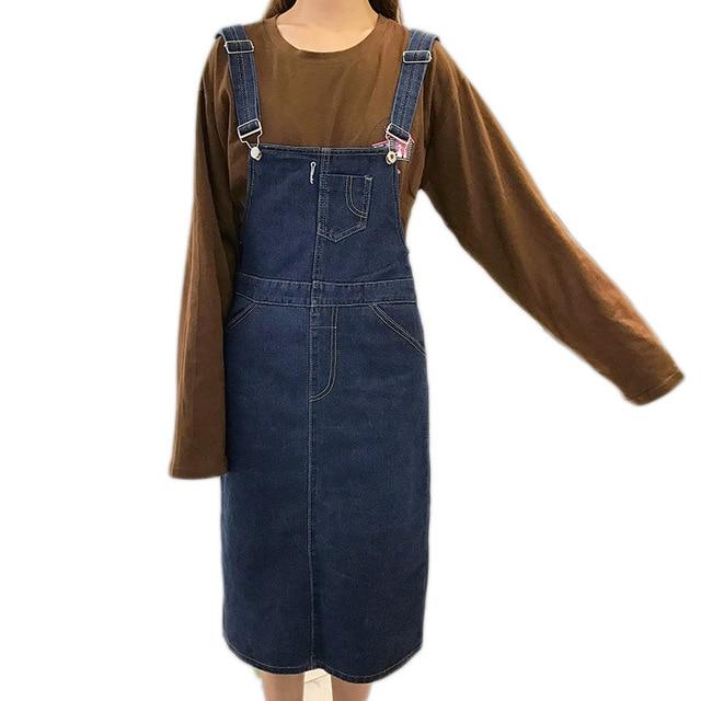 Summer Women Denim Dress Sundress Casual Loose Overalls Dresses