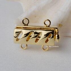 Cierre de caja de Oro amarillo sólido 9k Karat hebilla de Oro de doble hebra Au375 9ct para collar hallazgos y componentes de joyería