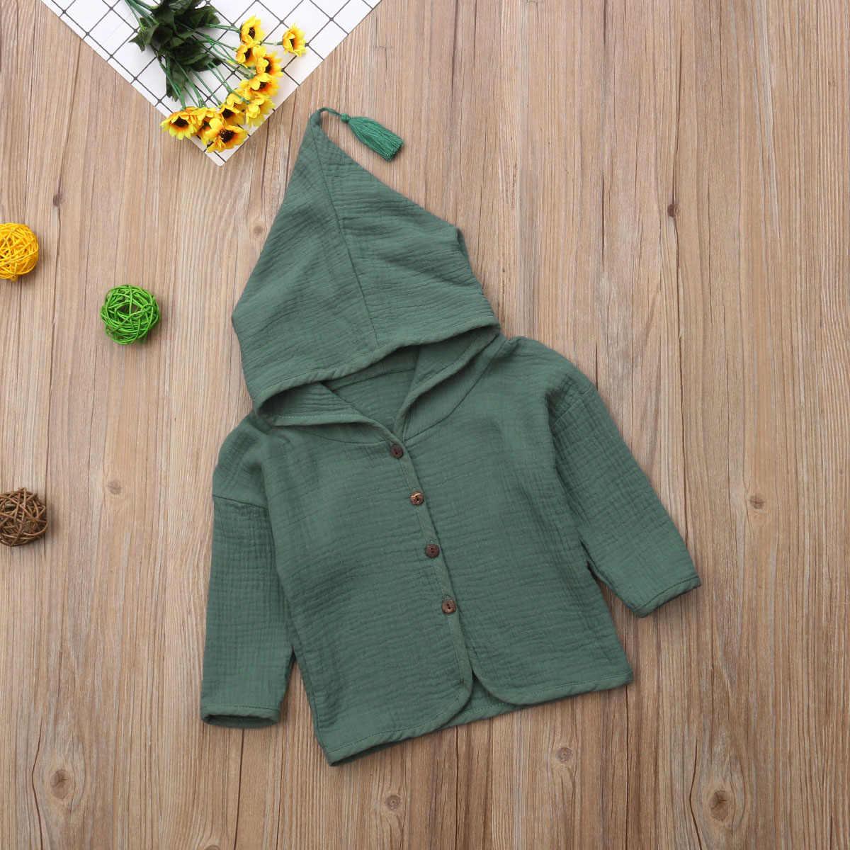 2018 חדש לגמרי סתיו חורף אופנה סיבתי ילדי תינוק בנות בני מעיל מוצק מעיל מחודדת ברדס פשתן כותנה מעילי תלבושת 1-6Y