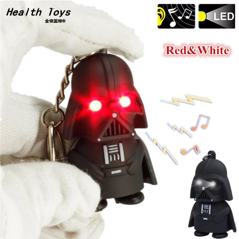 1pcs Star War Red White LED Flashlight Keychains Anakin Skywalker Darth Vader Action Figure Toys Llaveros With Sword Sound