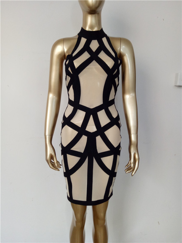 Parti Maille Rayé Sexy Nude Femmes Balck Bandage Mini Robe 8k0nwXOP