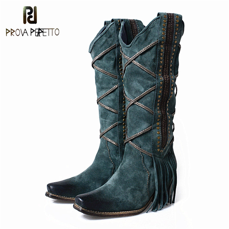 Prova Perfetto 2018 Autumn Winter Blue Tassels with Plush Mid-calf Boots Thick Heel Thigh Highs Look Thin Retro Knight BootsProva Perfetto 2018 Autumn Winter Blue Tassels with Plush Mid-calf Boots Thick Heel Thigh Highs Look Thin Retro Knight Boots