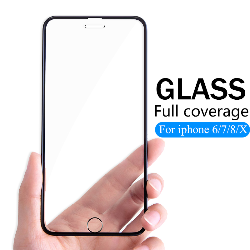 7D protective Glass For iPhone 6 7 8 6S Plus X XS MAX XR glass iphone 7 8 x 6 XS screen protector tempered glass on iphone 7 8-in Phone Screen Protectors from Cellphones & Telecommunications