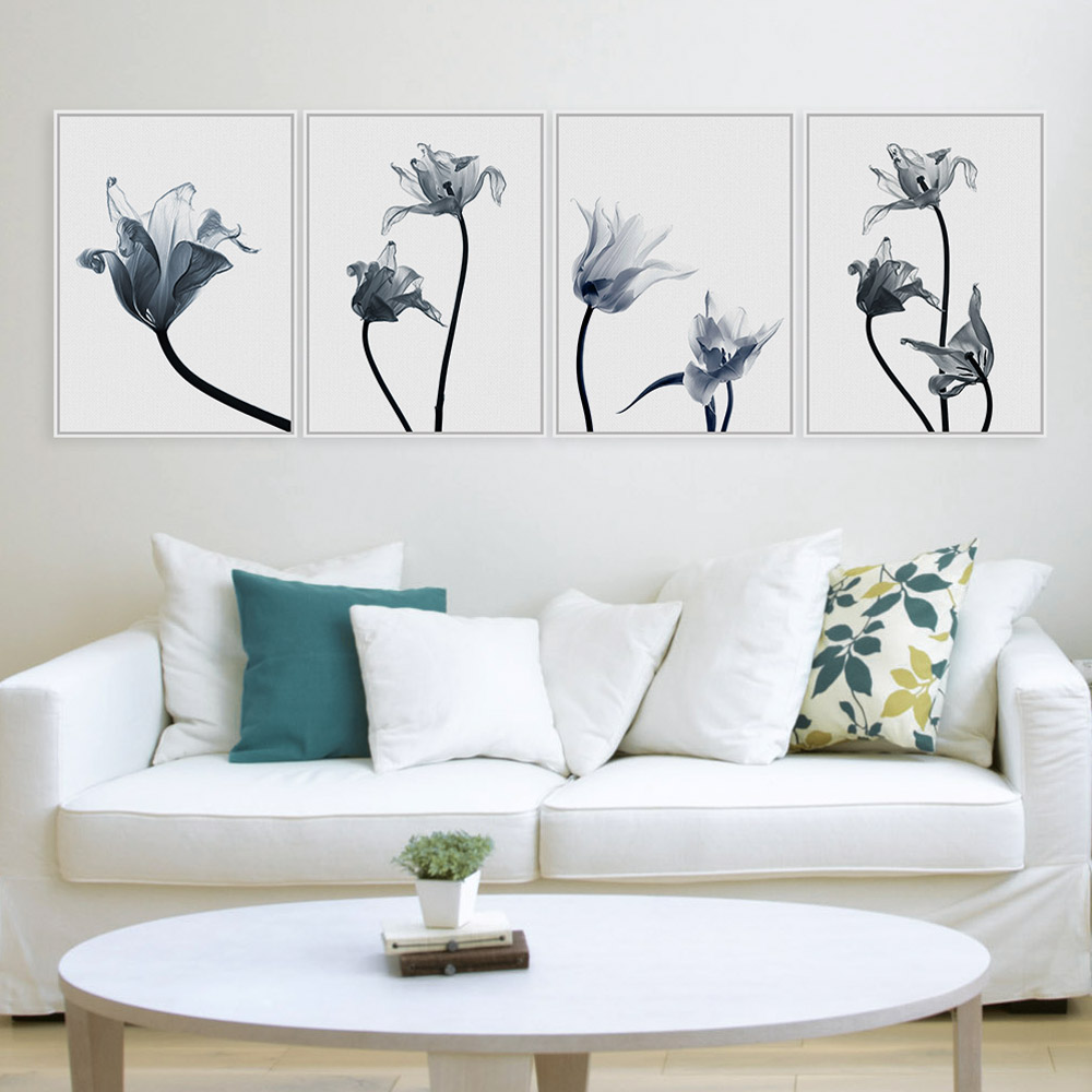 Azqsd modern minimalist plant a4 art prints poster black for Black and white mural prints