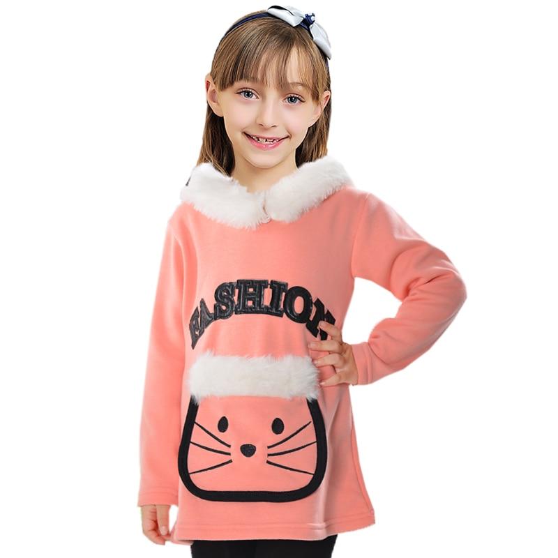 Baby Clothes Warm Thick Girls Hoodies Cute Cartoon Sweatshirt For Girls Artificial Fur Long Length Children Clothing Girls Top