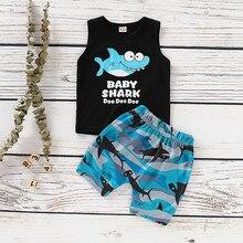 b1e6792c683 Bebé niño chico 2 piezas de dibujos animados carta impreso bebé tiburón Doo  chaleco Tops +