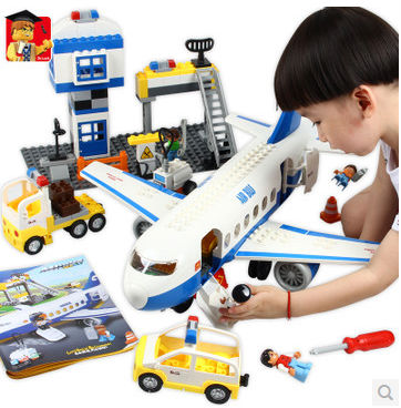 DA9634 Preschool Education Airplane Airbus Airport for kids over 3 Building Block Sets Educational DIY Bricks Toys education preschool