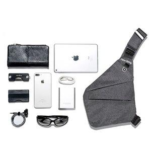 Image 3 - NewBring siyah tek omuz çantaları erkekler için su geçirmez naylon Crossbody çanta erkek anti hırsızlık göğüs çantası