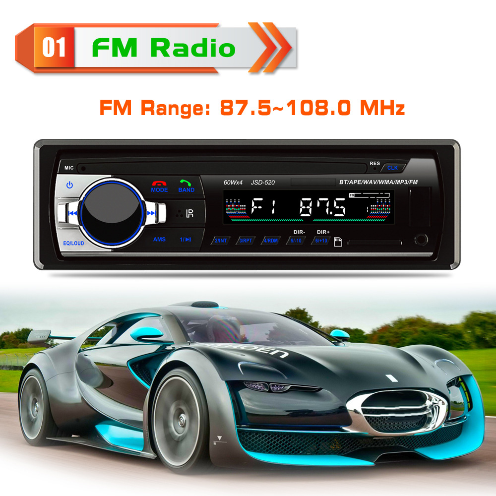 JSD520 4*60 W De Voiture Bluetooth lecteur MP3 Radio FM DC12V Au tableau de bord Un Din AUX SD USB MP3 MMC WMA Voiture audio Récepteur Panneau Fixe 7388