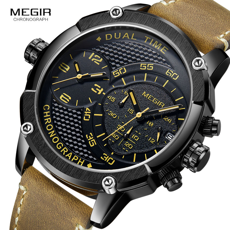 MEGIR Men's Double Time Zone Chronograph Quartz Watches Waterproof Lumious Leather Band Army Sports Wristwatch For Man 2093G-BK