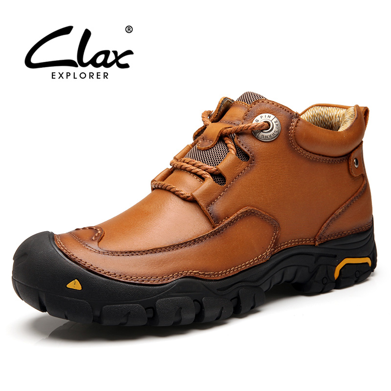 CLAX Men's Ankle Boots 2019 Autumn Winter Work Boot Genuine Leather Male Casual Shoes Outdoor Walking Footwear Big Size