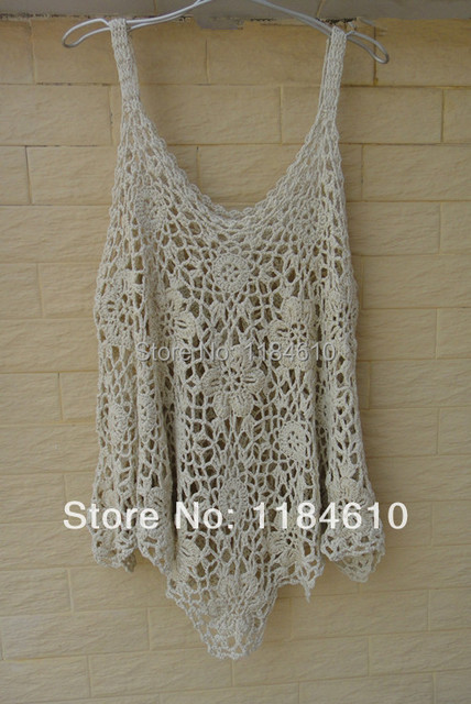 Plus Size Crochet Ruffle Tops Summer Loose Blouse Beach Cover Up In