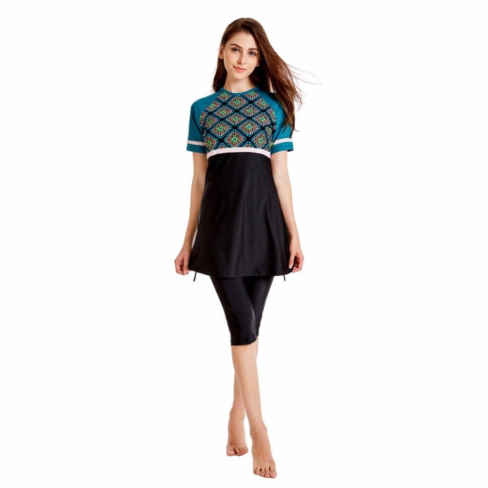2019 New Muslim Swimwear Women Modest Patchwork Full Cover Short Sleeve Swimsuit Islamic Hijab Islam Burkinis Wear S-4XL