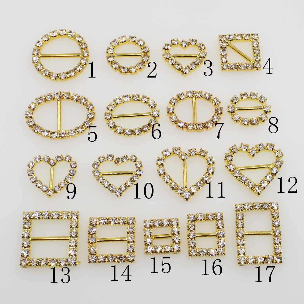 Shiny Mix Size 10pc Gold Rhinestone Buckle Diamante Ribbon Slider Wedding Invitation Card Decoration Buckles Metal Crystal
