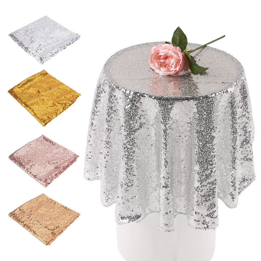 80cm sequin tablecloth round designed festival gold silver champagne