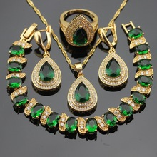Green Stones Gold Color Bridal Jewelry Sets For Women Bracelet Earrings Necklace Pendant Rings Free Gift Box