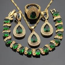 Pedras verdes cor do ouro conjuntos de jóias para mulheres pulseira brincos colar pingente anéis caixa de presente livre