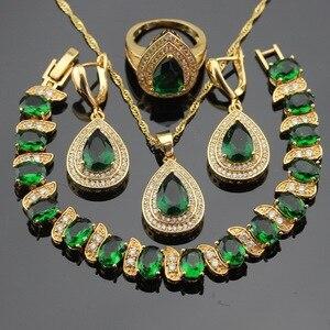 Image 1 - Pedras verdes cor do ouro conjuntos de jóias para mulheres pulseira brincos colar pingente anéis caixa de presente livre