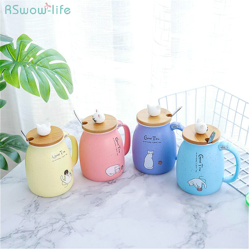 Creative New Cartoon Lovely <font><b>Cat</b></font> Ceramic Mug <font><b>Cup</b></font> <font><b>Japanese</b></font> Lid With Spoon Student Home Portability Water Bottle Travel Coffee Milk image