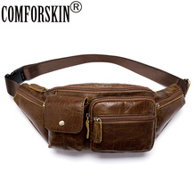 COMFORSKIN Genuine Leather Men Bag Messenger Vintage Men Waist Bag Leather Waist Pack Fanny Pack Bum Bag Money Belt Bag Male sansarya belt bag boho bohemian vintage fanny pack for women cute festival hippie ladies waist bag tribal aztec girls bum bag