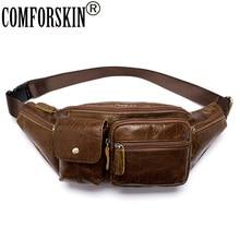 цена на COMFORSKIN Genuine Leather Men Bag Messenger Vintage Men Waist Bag Leather Waist Pack Fanny Pack Bum Bag Money Belt Bag Male