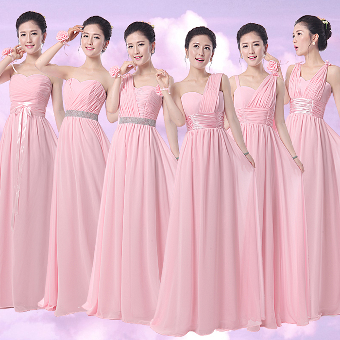 6 Design One Shouder Strapless Wedding Sister Party Dresses Y Open The Shoulder Chiffon Long Pink Bridesmaid In From Weddings