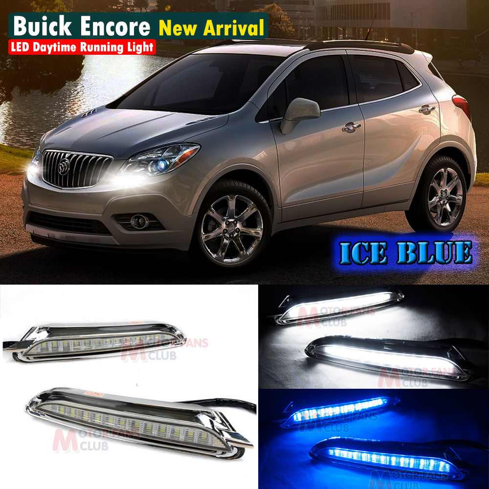 ФОТО Blue LED Daytime Running Light For Buick Encore Opel Mokka DRL 2013 2014 13 14 For Free Shipping