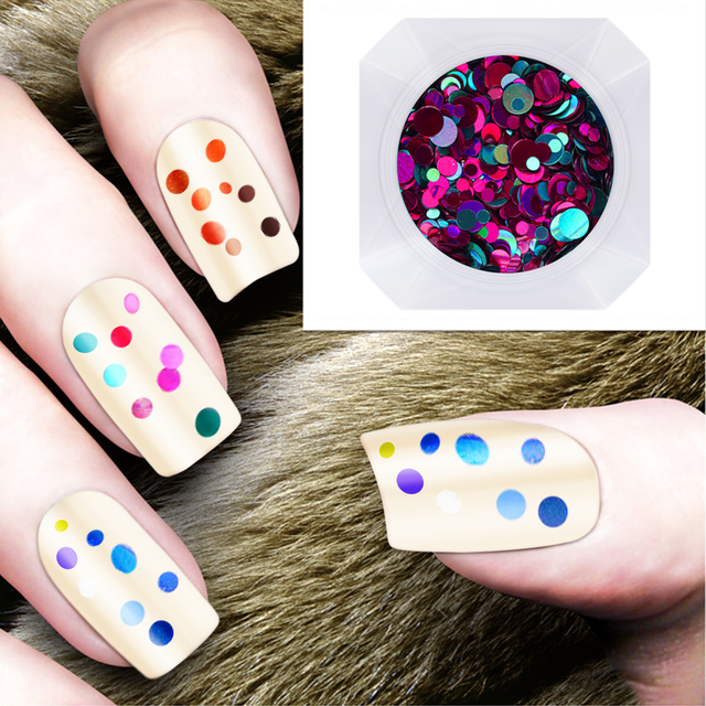 Colorful Shiny Round Nail Art Glitter 1 Box Tips UV Gel 3D Shine ...