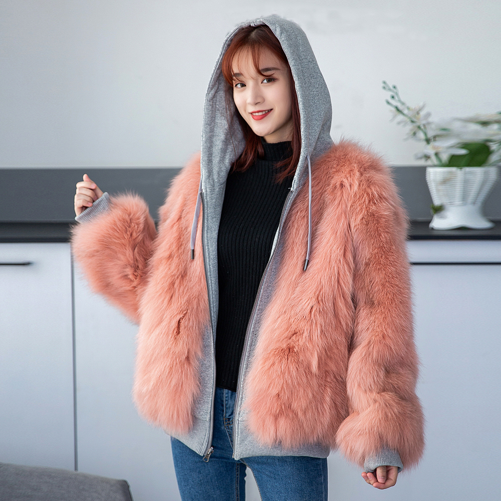 Reversible Fox Fur Coat Women with Hood Winter Fashion Natural Fur Hoodie Long Sleeve Oversized rf1910