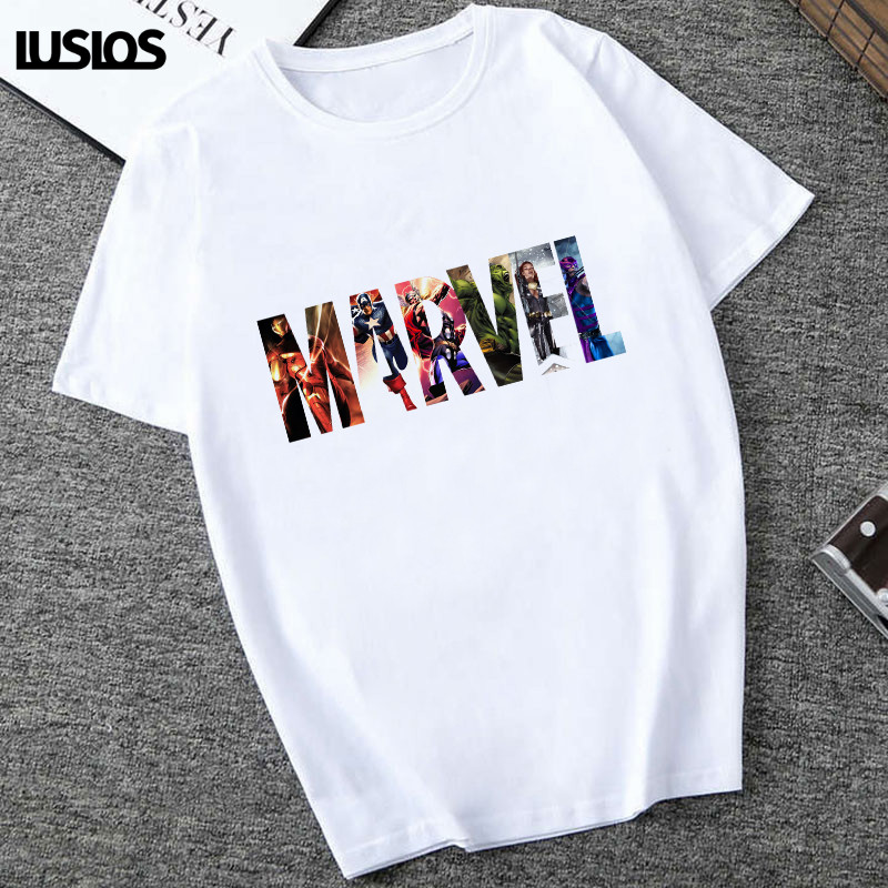 LUSLOS THE AVENGERS Print T Shirt For Women Summer 2019 Plus Size Casual Round Neck Tee Tops Marvel Print Femme White T-Shirts
