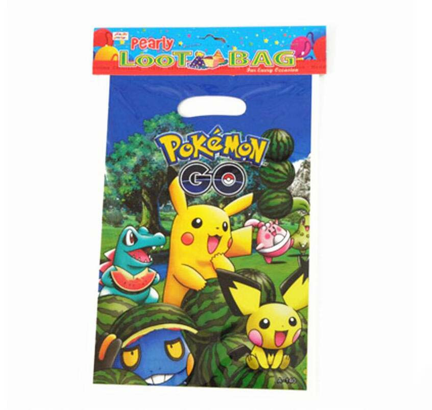 20pcs 25*15.5cm Pokemon Go Plastic Gift Bags for Kids Birthday Party Decoration Baby Shower candy gift bag