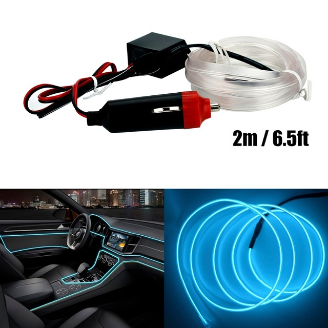 2M Neon Light Glow EL Wire Rope Tape Cable Strip LED Neon Lights Car  Decorative Ribbon