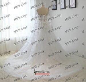 Image 3 - תמונות אמיתיות צווארון V שרוול ארוך תחרת קריסטל Rhinestones חתונת שמלה עם חצאית נשלף