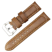 Genuine Leather Watch Band Light Brown Watchband Suitable for Panerai Replacement Belt 20 24mm Stainless Steel Buckle