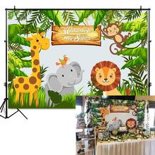 Mehofoto Jungle Safari Party Photo Backdrop Animals Forest Photography Background Happy Birthday Theme Decoration 944