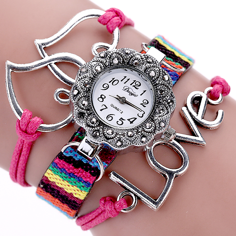Fashion Love Sweet Heart-Shaped Bracelet Watch Fabric Strap Luxury Rhinestone Bangle Watch Women Watches Quartz Watch Hour cute love heart arrow angel bracelet for women