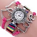 """Fashion """"Love"""" Sweet Heart-Shaped Bracelet Watch Pulseira de Tecido Pulseira Strass Relógio Das Mulheres Relógios de Luxo Relógio de Quartzo hora"""