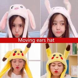 Kocozo chapéu de coelho com orelhas em movimento, bonito desenho, brinquedo de pelúcia, chapéu, airbag, kawaii, brinquedo engraçado, para crianças, presente de aniversário chapéu para meninas