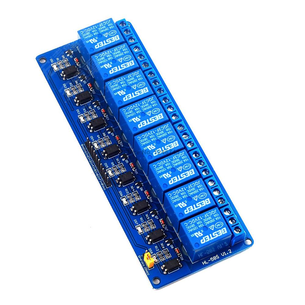 1pcs 8 Channel 12v Relay Module Control Panel Low Level Electronic Trigger For Arduino Plc